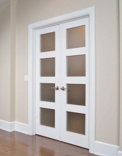 porte fran aise double avec verrou encastr et astragale moulure shaker verre satin blanc. Black Bedroom Furniture Sets. Home Design Ideas