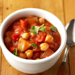 Garbanzo beans and potatoes make this vegetarian soup filling substantial enough to serve as a main dish.