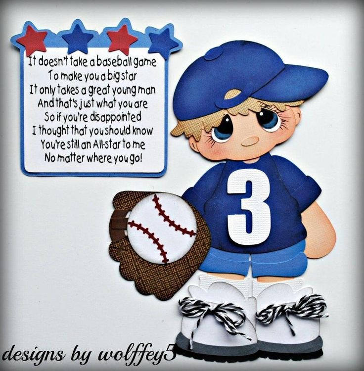 Elite4u boy baseball paper pieced premade scrapbook page album die cut wolffey5 handmade