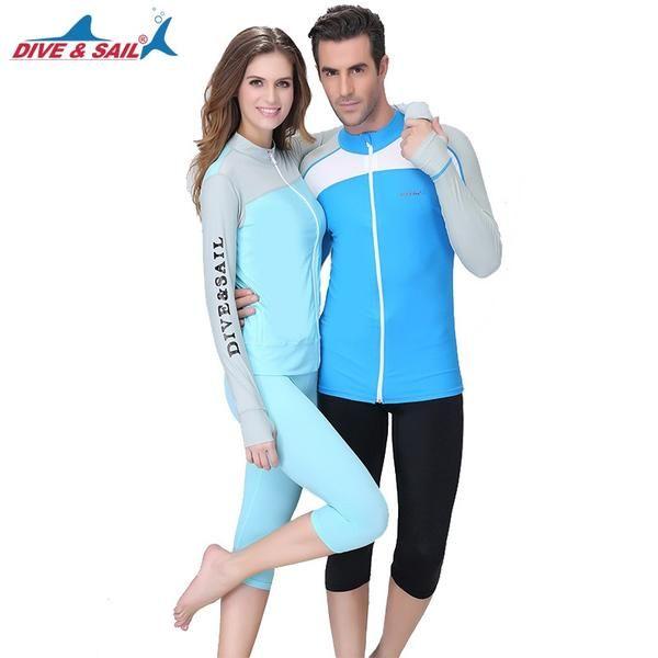 833aa375841e3 Dive&Sail Men Women Lycra Rashguard Wetsuit UPF50+ Long Sleeve Surf Swim  Suit Swimwear Dive Skin Running Sports Shirt #Discounts #BestPrice