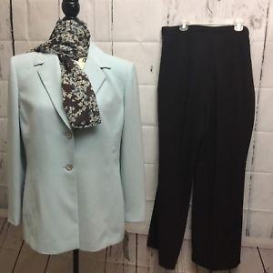 Le Suit Womens Petite Sz 12P Light Blue Blazer Brown Pant Suit w/ scarf NWT $240  | eBay