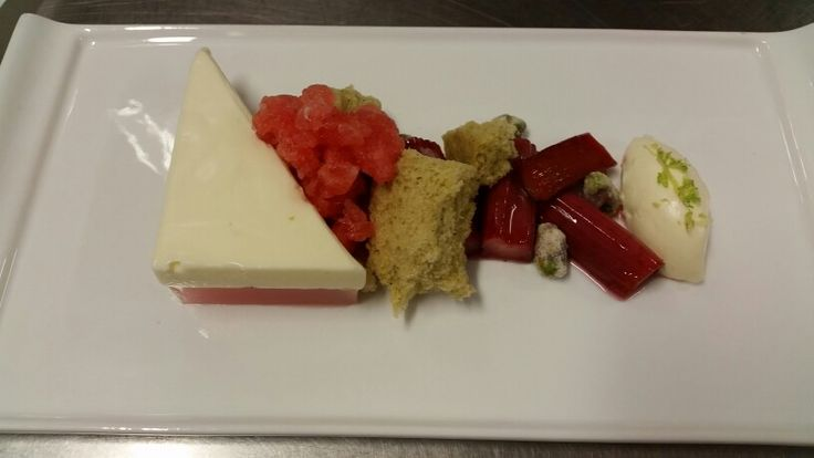 Rhubarb & Buttermilk Mousse with baked rhubarb and pistachio sponge