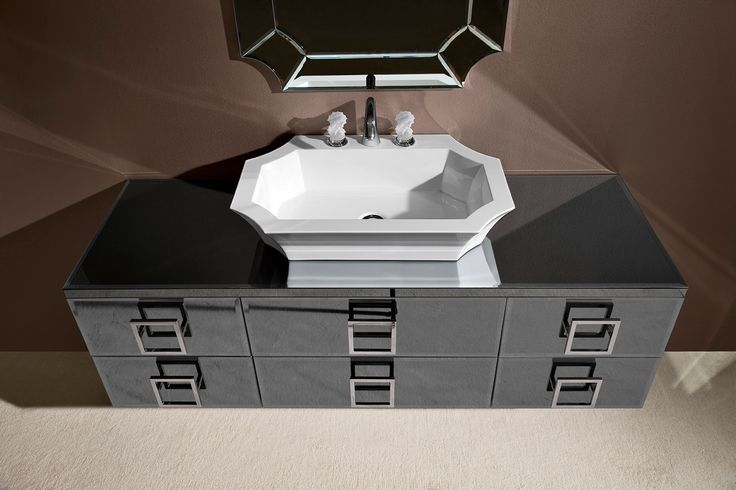 Daphne collection of luxury bathroom by Oasis bathroom, Italy. Black marble, black lacquer and chrome details.
