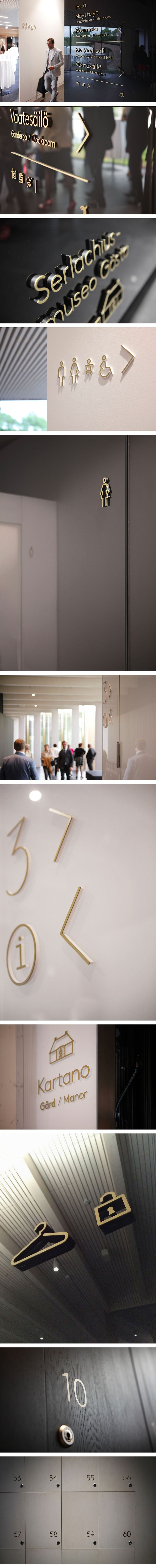 Serlachius Museum signage project by petitcomite.net. Lovely consistent signage. Right through to the rest room signs.