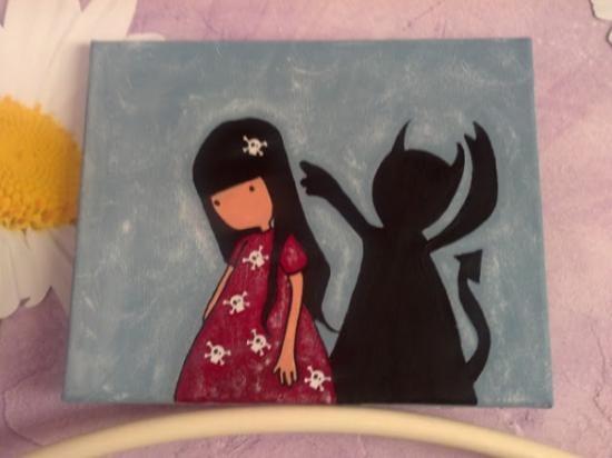 cuadro niña con sombra diablo en decoupage  lienzo blanco,pintura,papel decorado decoupage,pintado a mano