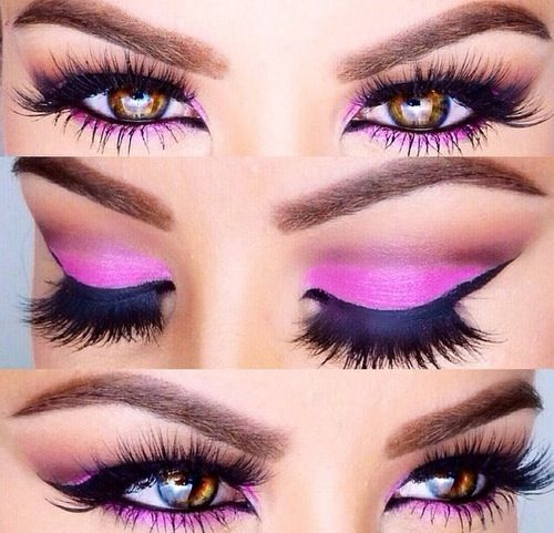 Bright Pink Eye Shadow ~ Smoky Eye ~ False Eyelashes ✿⊱╮