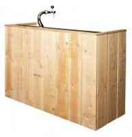 Doe het zelf eindresultaat van een zelfgemaakte bar van steigerhout.