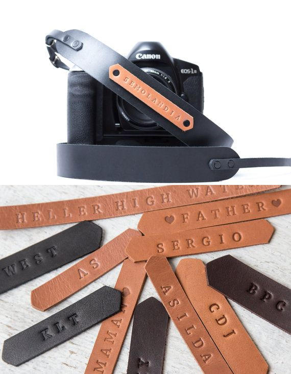 Personalized leather camera strap.