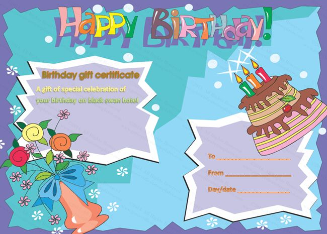 Multicolored Birthday Cake Gift Certificate Template