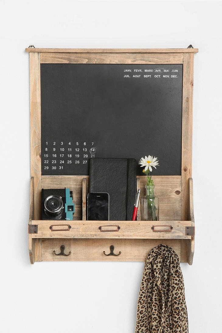 Reclaimed Wood Chalkboard. Perfect for a dorm room. The scarf hangers are amazing!