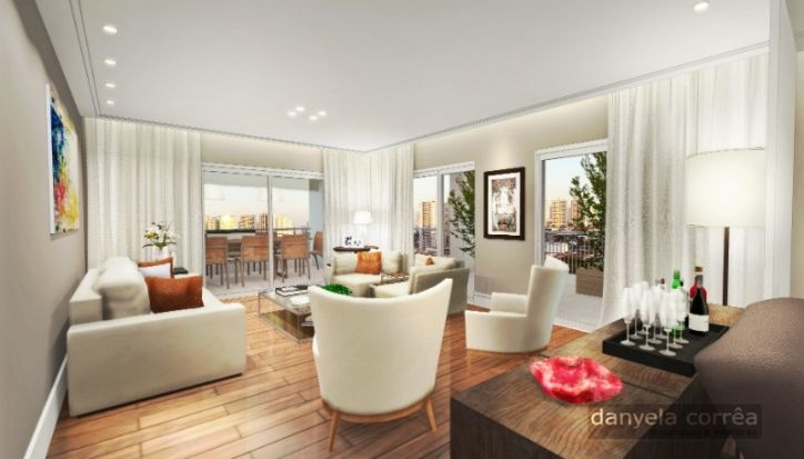 Perspectiva 3D da sala de estar, com sofá e poltronas, quadros para decoração. Forro de gesso com luzes embutidas, cortina com cortineiro embutido no teto. Piso de madeira.  Arquiteta Danyela Corrêa