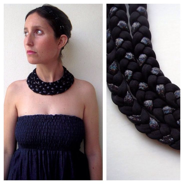 Beautiful matte & sparkle black triple braided collar, soft, light, colorful, daring and with a tribal feel.