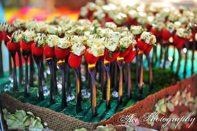 Love These Hors Doeuvred On Little Forks Wedding Food Party Appetizers Feta Cheese Dinner