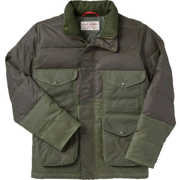 Filson Down Cruiser Jacket (26.970 RUB) ❤ liked on Polyvore featuring men's fashion, men's clothing, men's outerwear, men's jackets, mens distressed leather jacket, mens jackets, mens sports jackets and mens sport jackets
