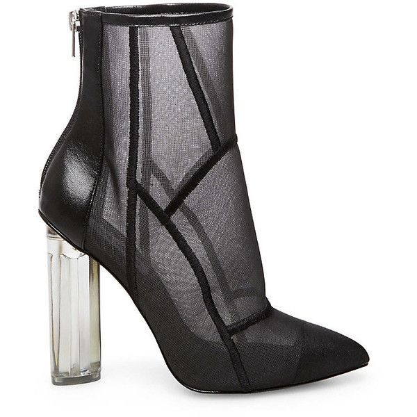 Steve Madden Nicki Boots (14165 RSD) ❤ liked on Polyvore featuring shoes, boots, ankle booties, ankle boots, black, black ankle boots, clear booties, summer booties and black bootie