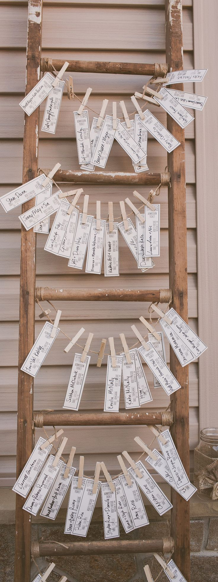 adorable shabby chic ticket styled escort cards on wooden. Black Bedroom Furniture Sets. Home Design Ideas