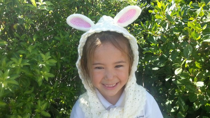 Crochet bunny hooded scarf with ears by Rumic1 on Etsy
