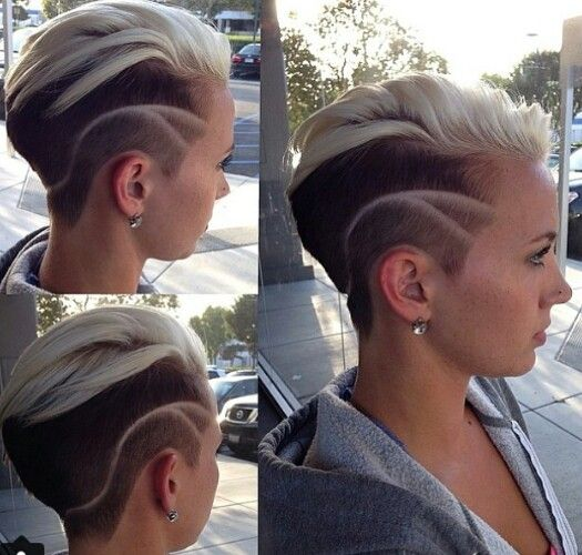 Two tone dyed blonde shaved short hairstyle                                                                                                                                                     More