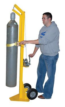 """This product allows youto easily move and lift cylinders for placement into portable welders. Lift cylinders up to 14"""" high. For use with maximum cylinder height of 56"""". Cylinder is secured to cart with manual ratchet strap. Cylinder is raised and lowered with manual hand crank cable windch. Portable with two wheels. Steel construction with pained yellow finish."""