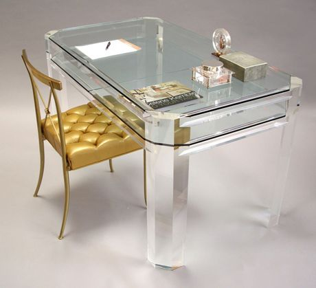 I really want a lucite desk.  Then I can invite strippers over and have a place to teach them math.