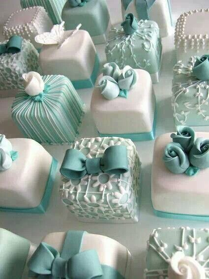Tiffany blue individual cakes LOve, LOve, LOve this idea for a bridal shower!!!
