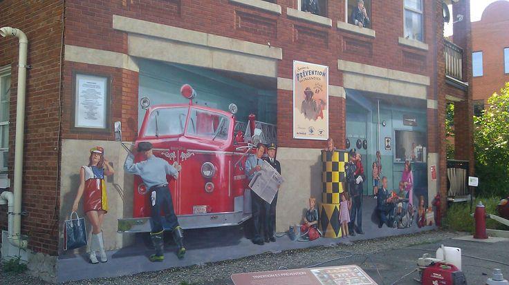 Protection anti graffiti de fresques murales avec le protecteur PSS20 à Ville de Sherbrooke, Québec.