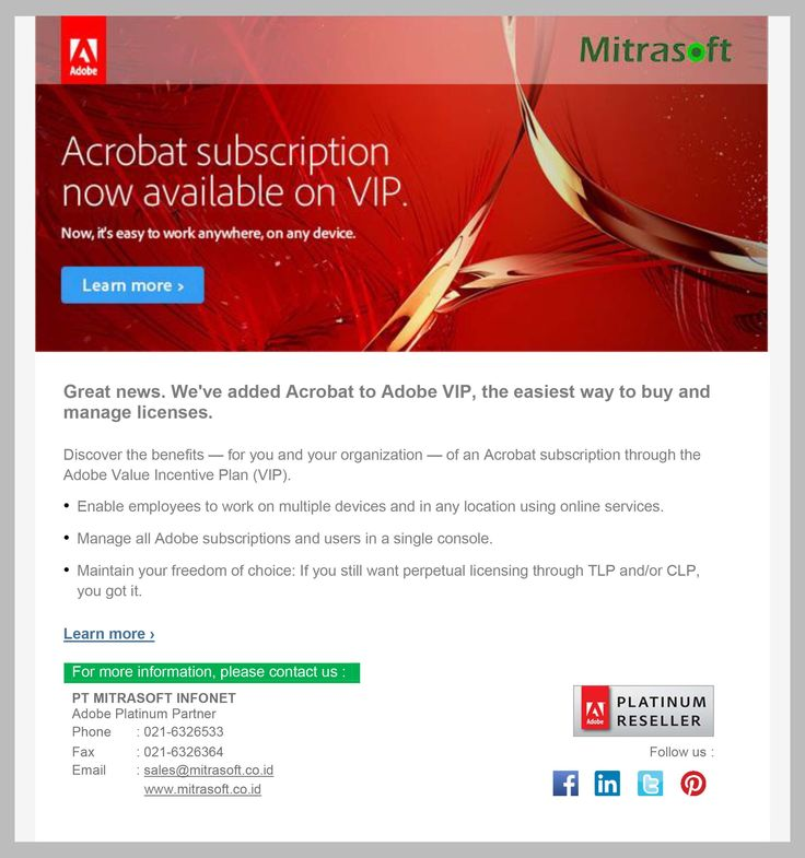 #Mitrasoft Acrobat subscription now available on #Adobe VIP. Discover the benefits (for you and your organization) of an Acrobat subscription through the #Adobe Value Incentive Plan (VIP) #MitrasoftSolution   Learn more: http://www.adobe.com/sea/volume-licensing/business/adobe-value-incentive-plan.html  Like us: https://www.facebook.com/pt.mitrasoft.infonet Follow us: https://twitter.com/Mitrasoft_PT https://www.linkedin.com/company/mitrasoft-infonet