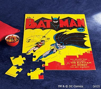 Rescue kids from rainy days with this bright Batman puzzle featuring a classic comic book cover.