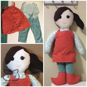 """Selfie Cloth Doll, 18"""" Tall, custom personalized art doll, ragdoll, keepsake doll - My specialty is making custom keepsake dolls to your specifications. Each of my dolls starts out with a basic pattern, but the details are entirely up to you! This listing is for an 18"""" tall rag doll, custom made to your specifications."""