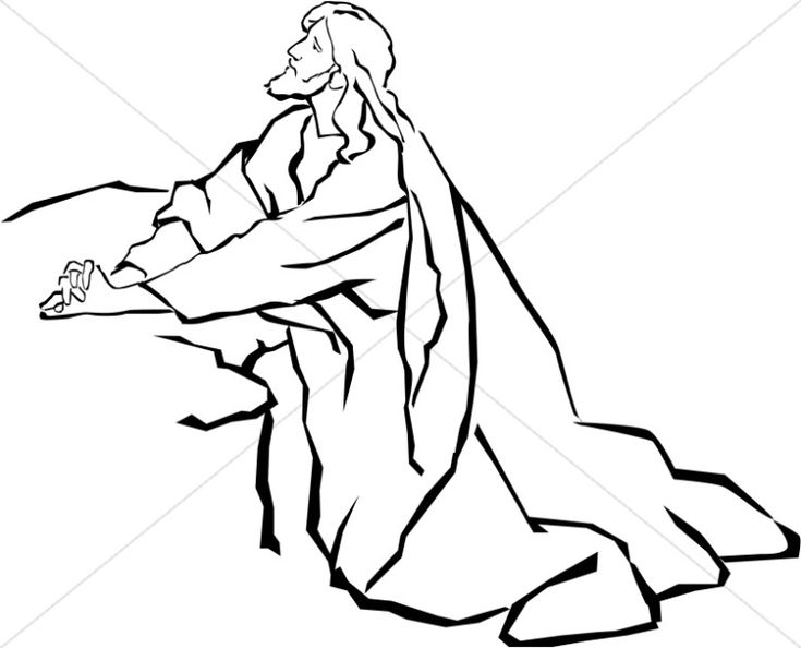 Jesus In The Garden Of Gethsemane In Black And White Clipart