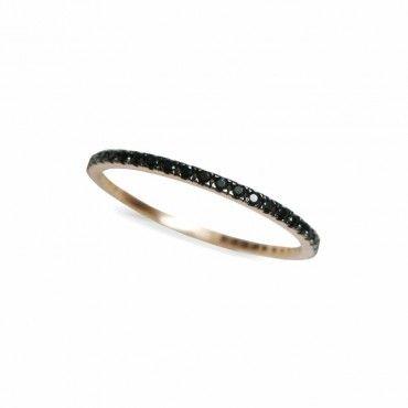 Μοντέρνο γυναικείο ολόβερο λεπτό δαχτυλίδι από ροζ χρυσό Κ14 σειρέ με μαύρες πέτρες ζίργκον σε όλο το μήκος | Δαχτυλίδια ΤΣΑΛΔΑΡΗΣ στο Χαλάνδρι #σειρέ #ζιργκον #χρυσο #δαχτυλίδι