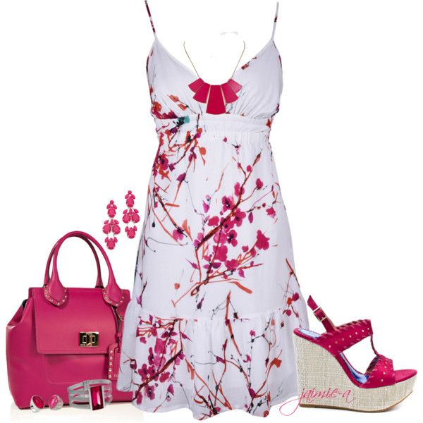 How U Like Me Now-White & Pink Floral Sundress, created by jaimie-a on Polyvore