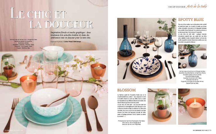 """1280-design dans la presse déco. Stylisme photos """"Arts de la table"""" pour Campagne Chic et broc n°20."""
