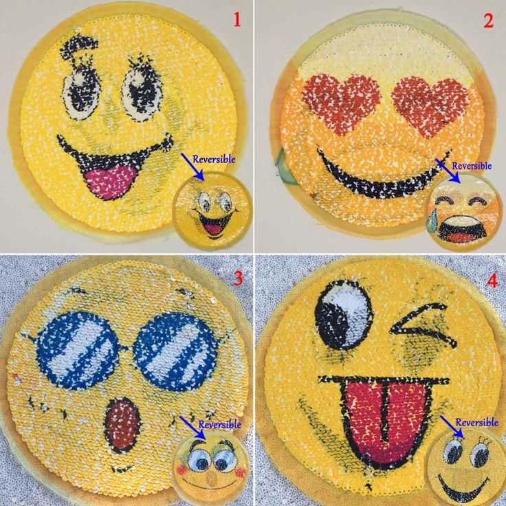 4pcs/Lot Reversible Sequin Patch Emoji SEW ON Double Colors Double Reversible Sequined Patch Lentejuelas DIY Ptach for T-shirt  #Affiliate