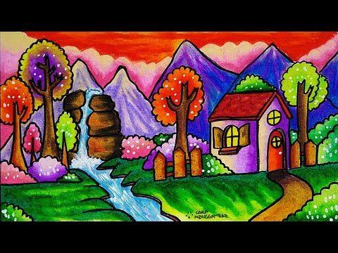 Cara Menggambar Dan Mewarnai Tema Pemandangan Alam Gunung Yang Bagus Dan Mudah Untuk Pemula Part 2 Youtube Cara Menggambar Seni Minimalis Pemandangan