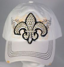 Rhinestone Bling Fleur de Lis With Wings Baseball Cap - White