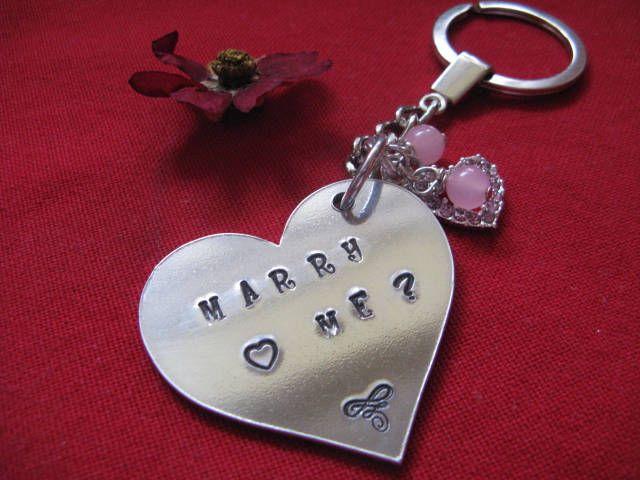Valentine Message Keyring, Marry Me Keyring, Valentine Gift, Love Token, Lovers Gift