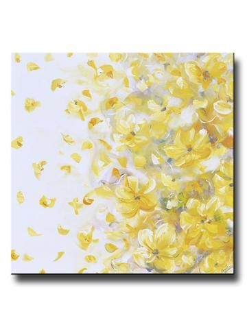 """""""Autumn Joy"""" Original Yellow Grey Abstract Floral Painting Contemporary Flowers Fine Art Modern Textured Palette Knife Painting. Stunning coastal abstract soft yellow, gold, grey, taupe and white flowers with a modern palette, possessing an elegant, casual sophistication - perfect to enhance any decor. Yellow flowers with petals softly blowing on the wind. Gallery fine art, wall decor. Mixed media acrylic original painting on large 40x40x1.5"""". By Contemporary Artist, Christine Krainock"""