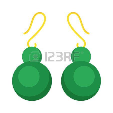 emerald earrings: Green earrings beautiful gold accessory isolated. Emerald elegant earrings on background.
