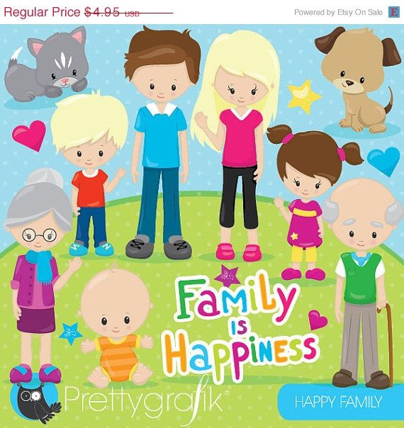 80 OFF SALE Happy Family Clipart Commercial By Prettygrafikdesign