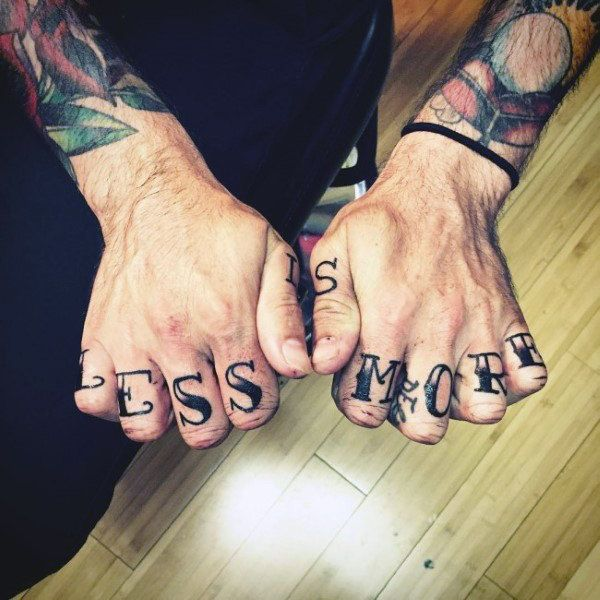 Less Is More Knuckle Tattoo Letters For Guys In Black Ink | Knuckle  tattoos, Tattoos for guys, Hand tattoos