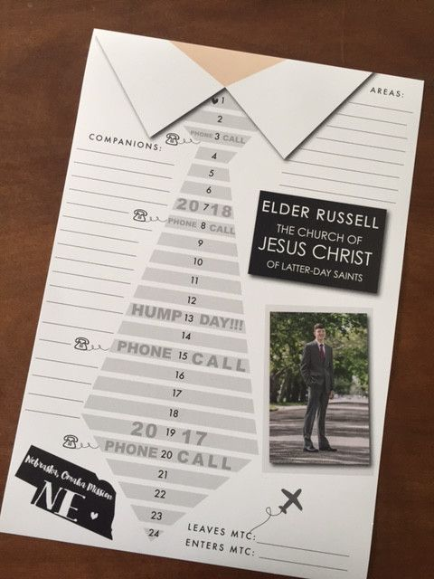 24 month countdown calendar personalized with missionary's picture, name and mission. Also includes space to keep track of companions and areas. Color in the stripes on the tie for the Elders or the s                                                                                                                                                      More
