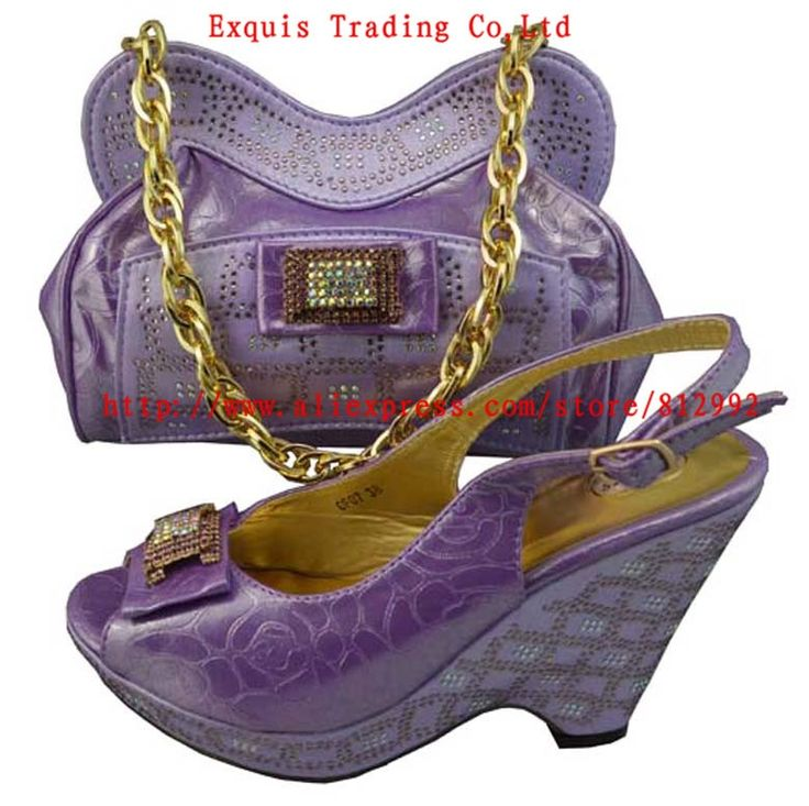64.24$  Watch now - http://alikbs.worldwells.pw/go.php?t=32234228146 - New design  lady shoes and bags set for wedding ,high quality italian  with stone GF07 purple color size