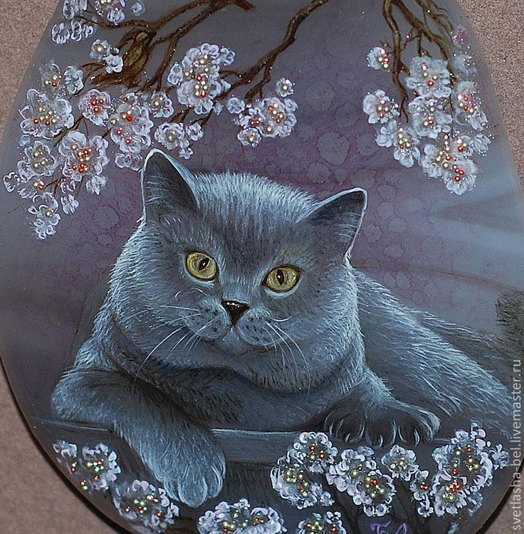 Купить В аромате цветущей сакуры - серый, лаковая миниатюра, кулон, украшение на шею