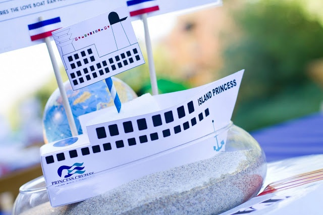 cruise ship center pieces  beach themed party  cruise ship