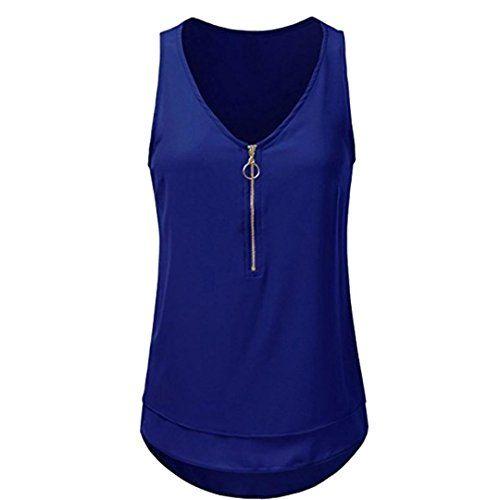 8872872f07f2 Dacawin Fashion Women Casual Blouse Sleeveless V-Neck Zipper Tank ...