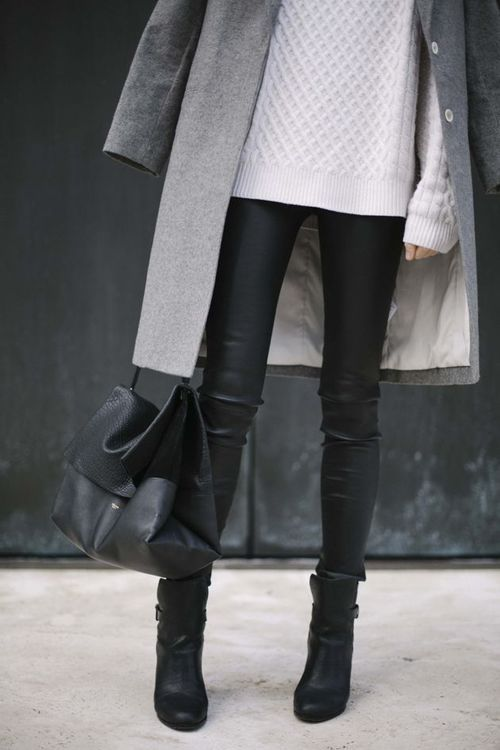 grey coat + white sweater + black leather leggings + black ankle boots + black tote
