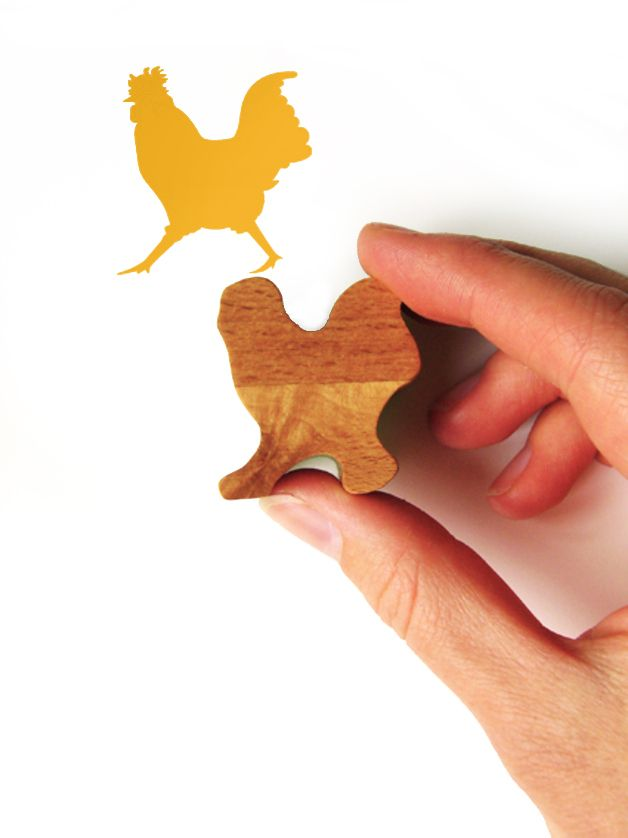 Animals – Wooden Cockerel Ink Stamp, Strutting Chicken Stamp – a unique product by Jolyon_Yates on DaWanda