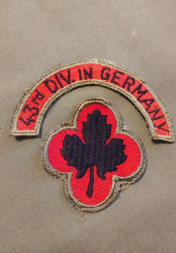 RARE WWII US Army 43rd infantry division in germany German made patch set