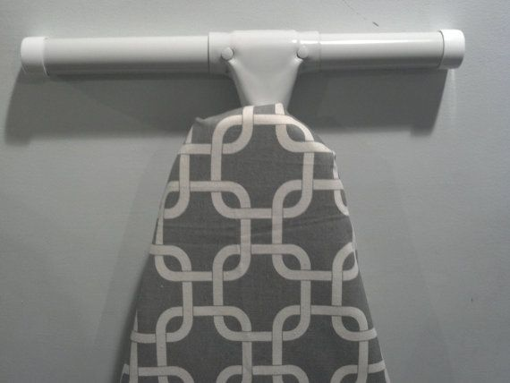 MODERN GEOMETRIC GREY and natural ironing Board cover Gotcha Gray Ivory
